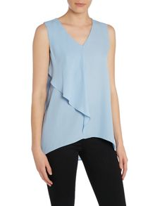 Sleeveless frill front top