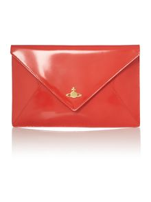 Coral patent envelope clutch