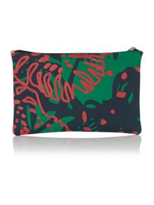 Africa green print pouch