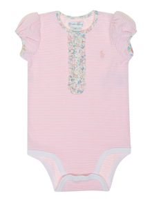 Baby girls stripe floral placket bodysuit
