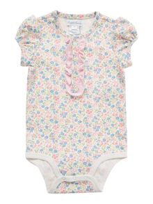 Girls All In One Stripe Floral Placket