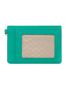 Saffiano green card holder with key ring