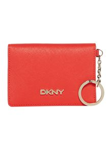 Saffiano orange card holder with key ring