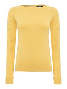 Pointelle button back jumper