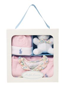 Baby girls teddy all in one and hat gift box