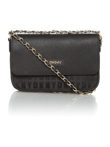 Saffiano black small flap over chain cross body