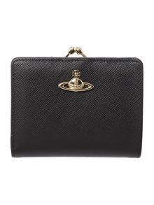 Saffiano black small flap over purse