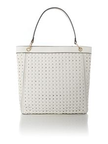 White large woven cross body with wristlet