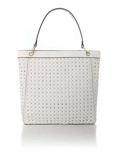 Marella White large woven cross body with wristlet