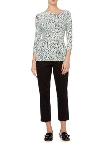 Animal print twist cowl 3/4 sleeve top
