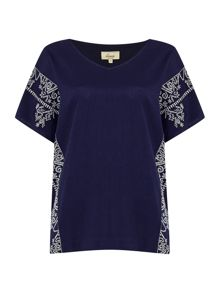 Linea Weekend Sandstorm haze embroidered top