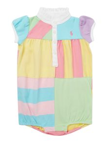 Baby Girls Bubble Patchwork Polo Bodysuit