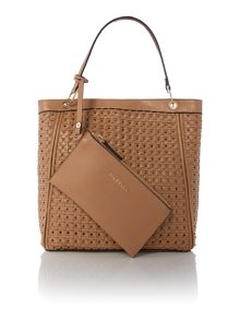 Tan large woven tote bag with wristlet