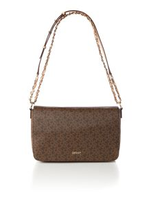 Coated logo brown medium flapover chain crossbody