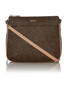 Coated logo brown top zip cross body bag