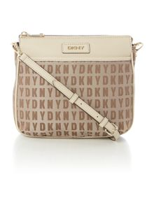 Saffiano tan top zip cross body bag