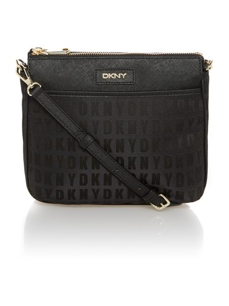 DKNY Saffiano black top zip cross body bag
