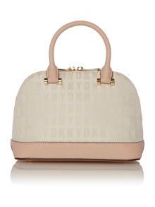 Saffiano neutral mini rounded satchel bag