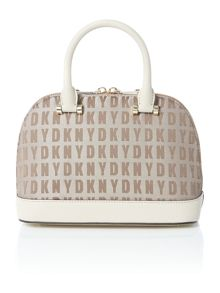 Saffiano tan mini rounded satchel bag