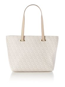 Coated logo tan tote bag