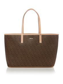 Coated logo brown reversible tote bag