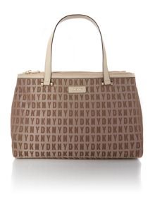 Saffiano tan large double zip tote bag