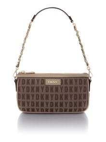 Saffiano tan small chain shoulder bag