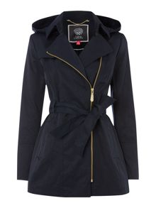 Hooded mac coat with belt