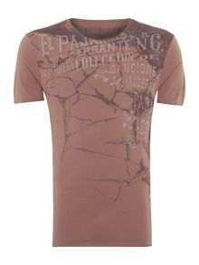 Cracks and text graphic t-shirt