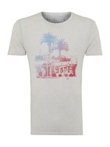 Pool side palm tree and hotel graphic t-shirt