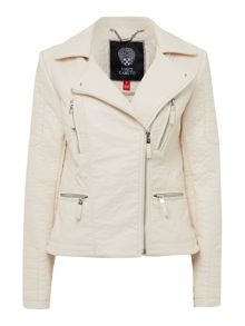 PU cream biker jacket with asymetric zip