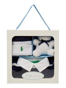 Polo Ralph Lauren Boys gift box with rugby all in one hat and teddy