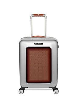 Herringbone silver 4 wheel cabin suitcase