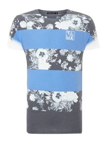 Floral Block Striped Tee