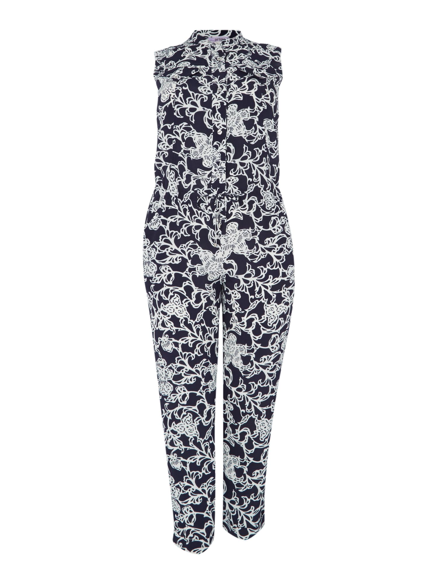 Persona Persona Floral sleeveless jumpsuit with shirt collar, Black
