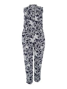 Floral sleeveless jumpsuit with shirt collar