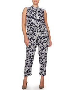 Persona Floral sleeveless jumpsuit with shirt collar