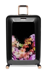 Casade floral black 4 wheel hard large rollercase