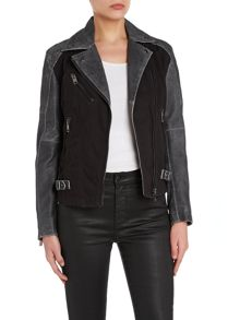 L-dada leather and cotton jacket