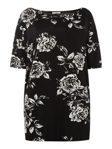 Persona T-short with floral print and cowl neck