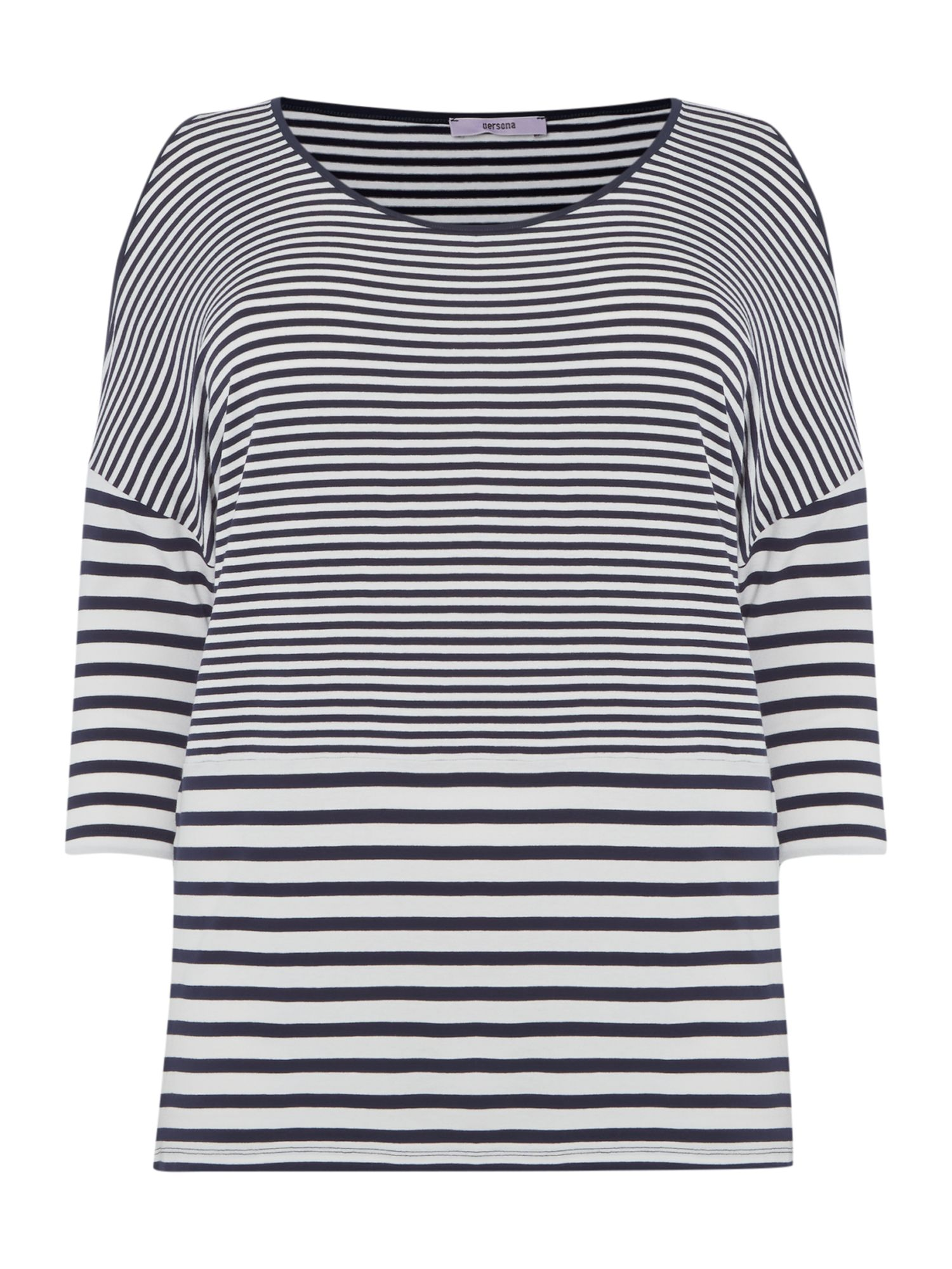 Persona Persona Stripey top with 3/4 sleeves, Navy