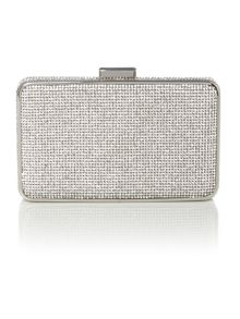 Elsie silver crystal box clutch bag