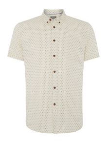 Linea Napier Spot Print Button Down Collar Shirt