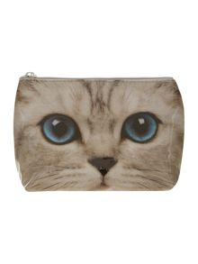Silver medium kitty cosmetic bag