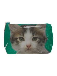 Green medium kitten cosmetics bag