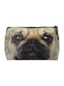 Brown pug large wash bag