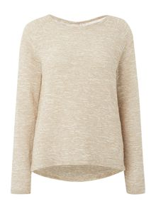 Long sleeved textured knitted jumper