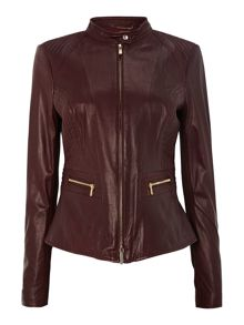 Panel Biker Leather Jacket
