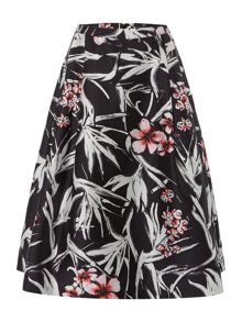 full printed twill skirt