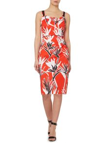 asymetric printed dress
